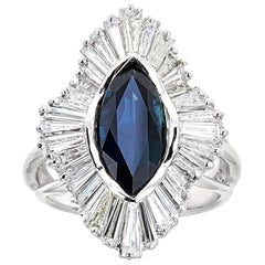6TCW Marquise Cut Sapphire Diamond Estate Engagement Ring 18k White Gold