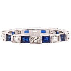 Sapphire and Diamond Eternity 18 Karat White Gold Band