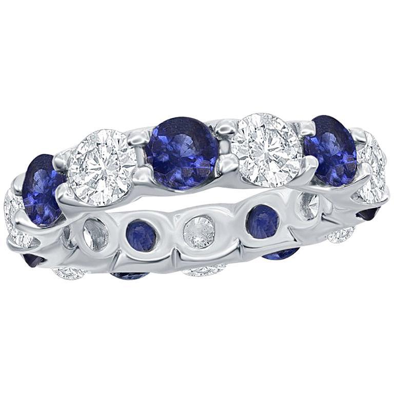 Sapphire and Diamond Eternity Platinum Ring
