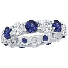 Sapphire and Diamond Eternity Platinum Ring