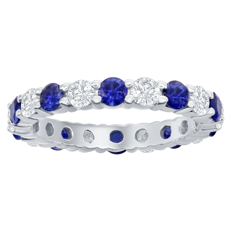 Sapphire and Diamond Eternity Ring 14 Karat White
