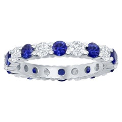 Sapphire and Diamond Eternity Ring 14 Karat White