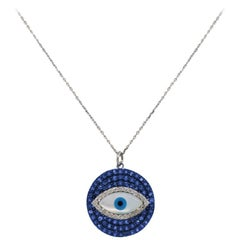 Sapphire and Diamond Evil Eye Pendant Necklace