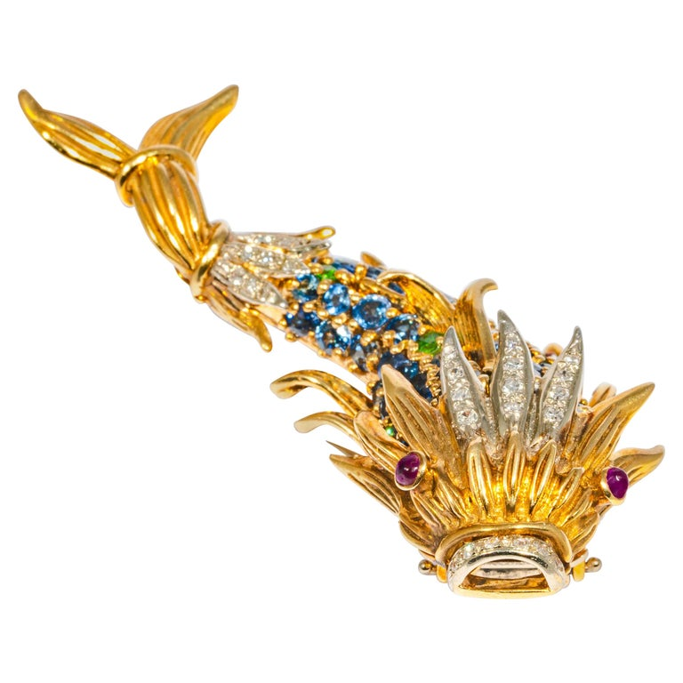 Sapphire and Diamond Fish Clip Brooch by Jean Schlumberger, Tiffany & Co. For Sale
