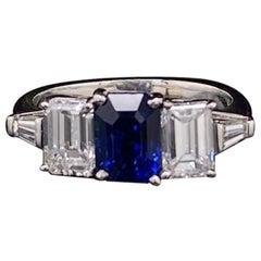Sapphire and Diamond Five-Stone 18 Karat White Gold Five-Stone Engagement Ring
