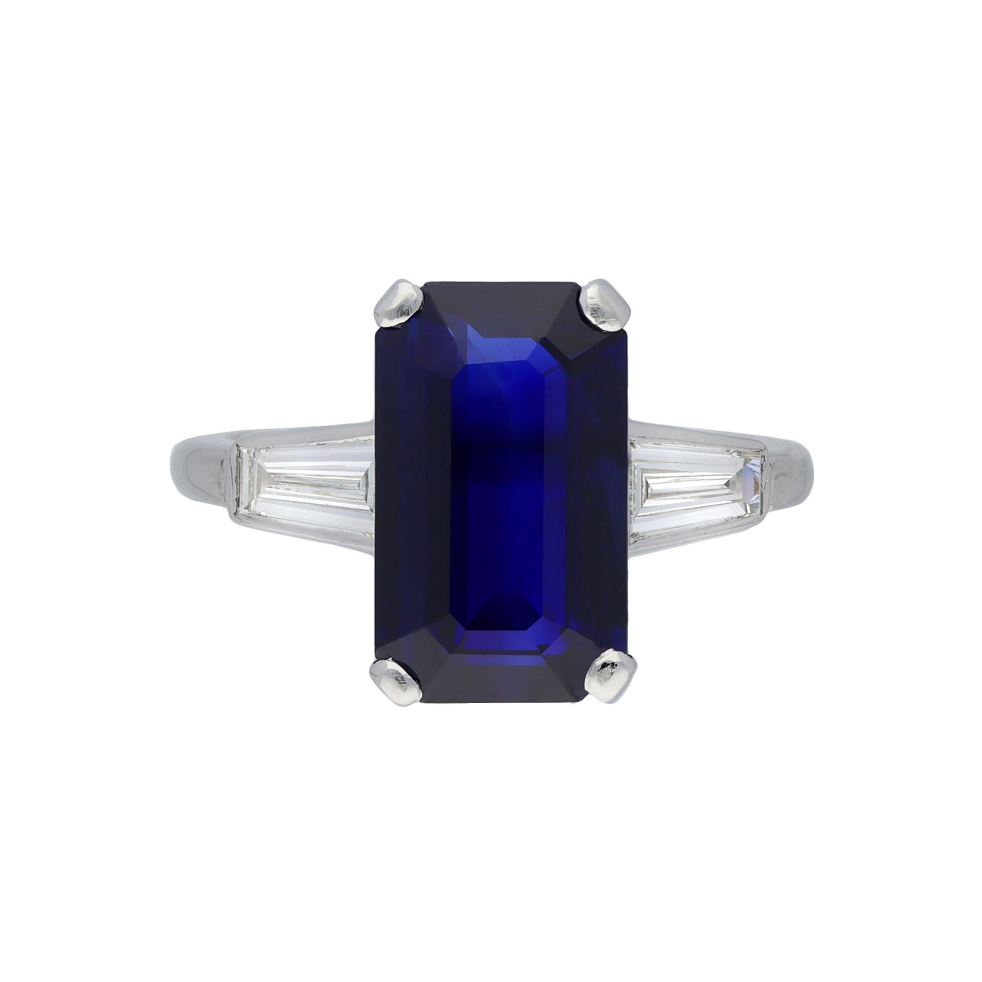 Sapphire and Diamond Flanked Solitaire Ring, English
