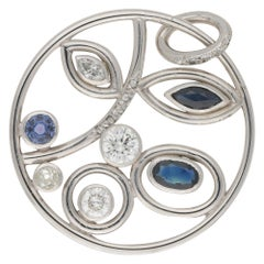 Sapphire and Diamond Floral Pendant Set in 18 Karat White Gold