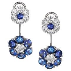 Sapphire and Diamond Flower Drop Earrings