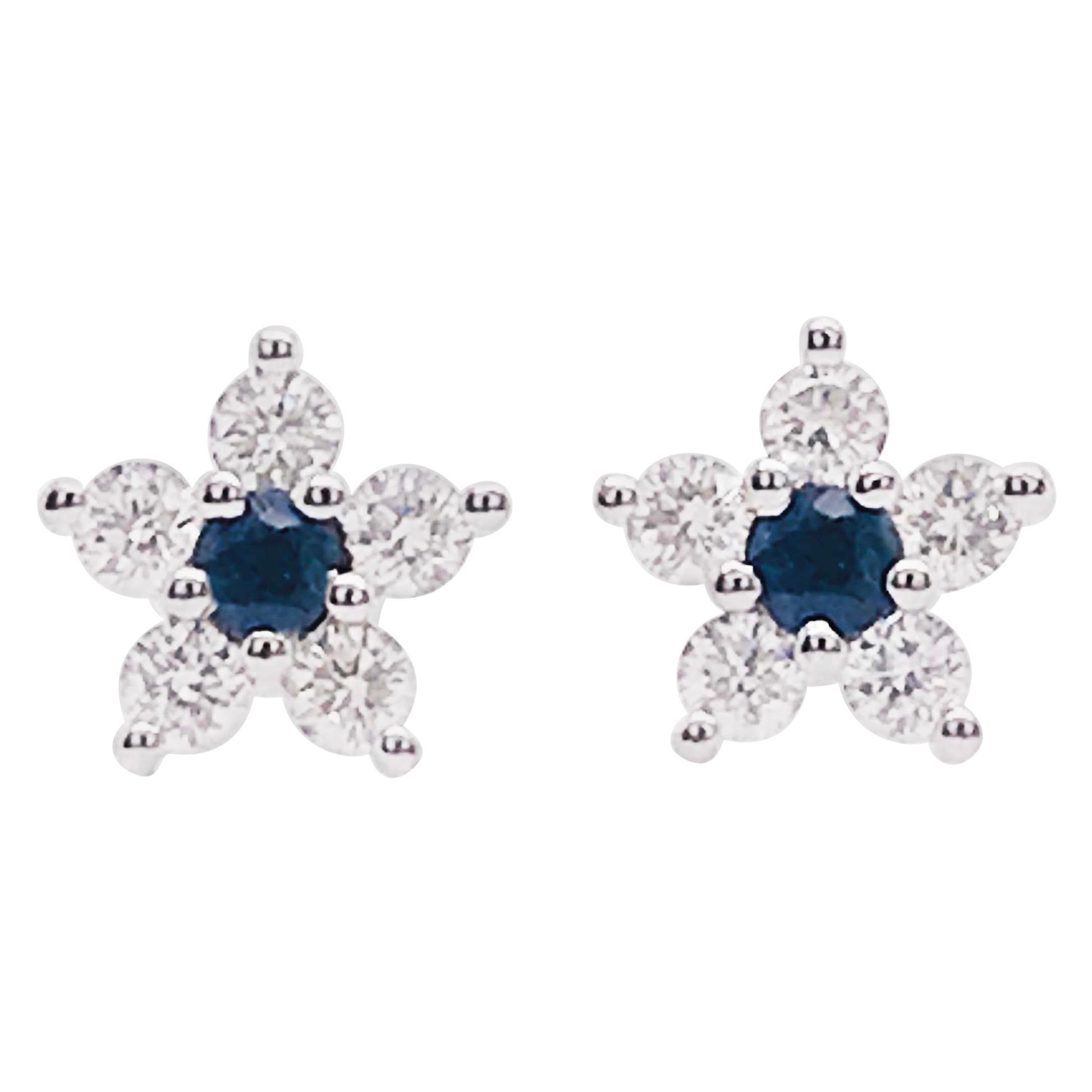 Sapphire and Diamond Flower Earrings, Blue Sapphire and Diamond Dainty Stud Ear