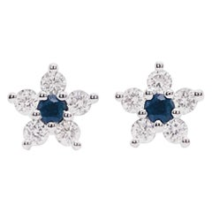 Sapphire and Diamond Flower Earrings, Blue Sapphire and Diamond Dainty Studs