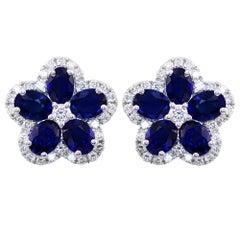 Sapphire and Diamond Flower Earrings Set in 18K