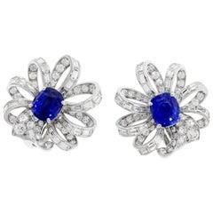 Sapphire and Diamond Flower Earrings Set in Platimim