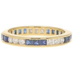 Sapphire and Diamond Full Eternity Ring in 18 Karat Yellow Gold