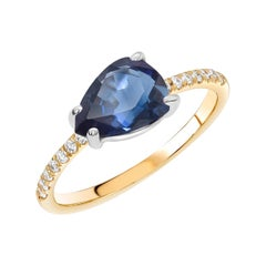 Sapphire and Diamond Gold Cocktail Cluster Ring Weighing 2.45 Carats