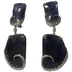 Sapphire and Diamond Gold Drop Statement Earrings Estate Fine Jewelry