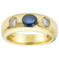 Sapphire and Diamond Gold Gypsy Ring