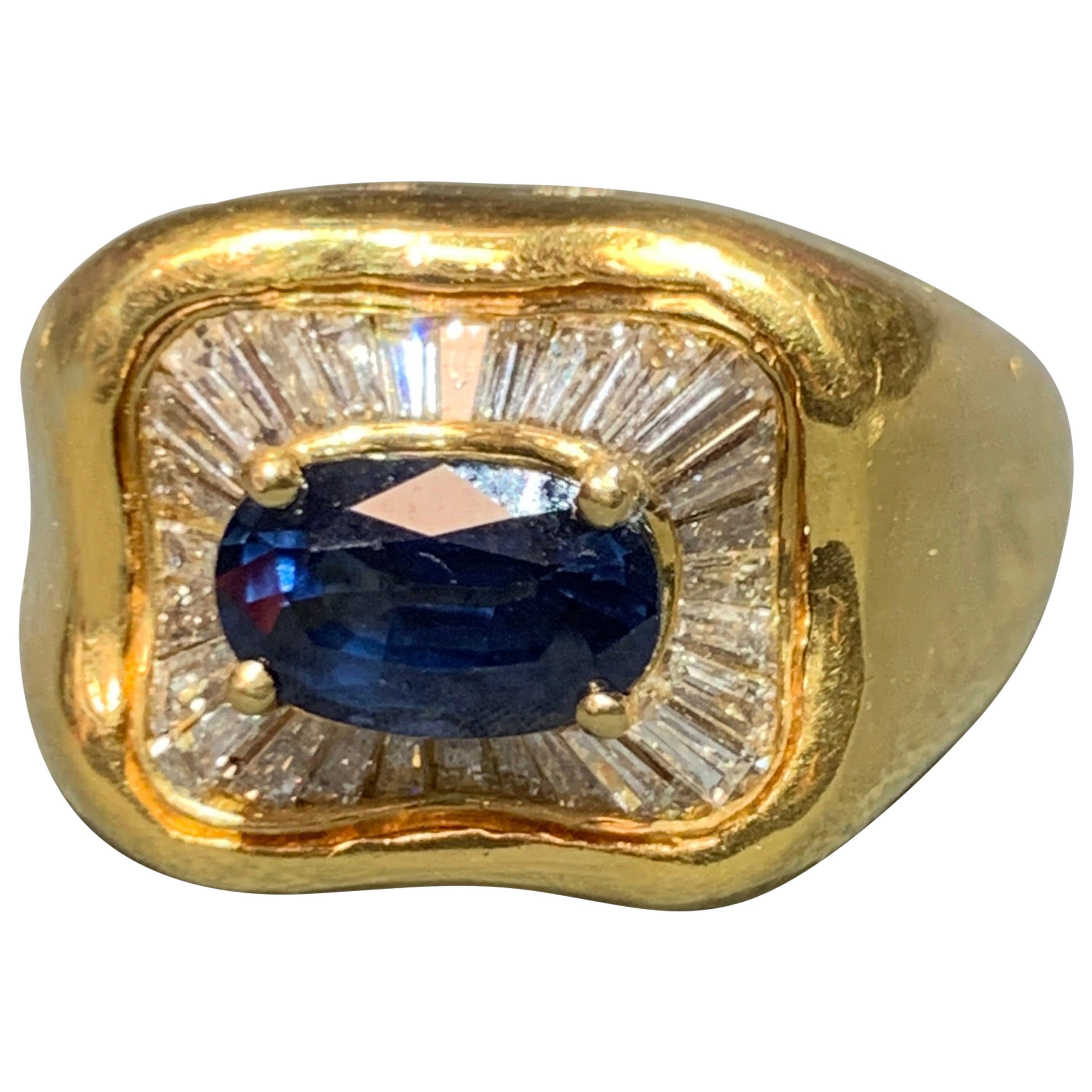 Sapphire and Diamond Gold Men's Ring