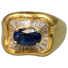 Sapphire and Diamond Gold Men's Ring