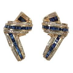 Sapphire and Diamond Gold Ribbon Earrings
