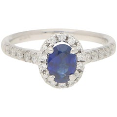 Sapphire and Diamond Halo Cluster Engagement Ring Set in 18 Karat White Gold