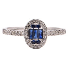 Sapphire and Diamond Halo Cocktail Ring in 18 Carat White Gold