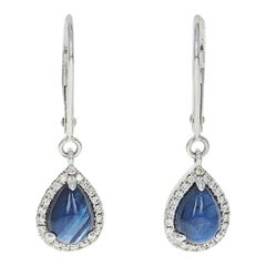 Sapphire and Diamond Halo Earrings, 14 Karat White Gold Drop Pierced 2.55 Carat