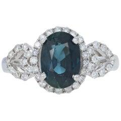 Sapphire and Diamond Halo Ring, 18 Karat White Gold Oval Cut 2.41 Carat