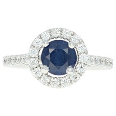 Sapphire and Diamond Halo Ring, 18 Karat White Gold Round Cut 1.82 Carat