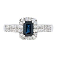 Sapphire and Diamond Halo Ring, 18 Karat White Gold Women's .75 Carat