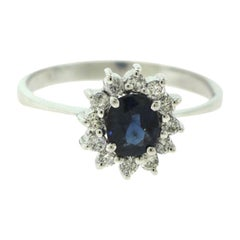 Sapphire and Diamond Halo Small Round White Gold Ring