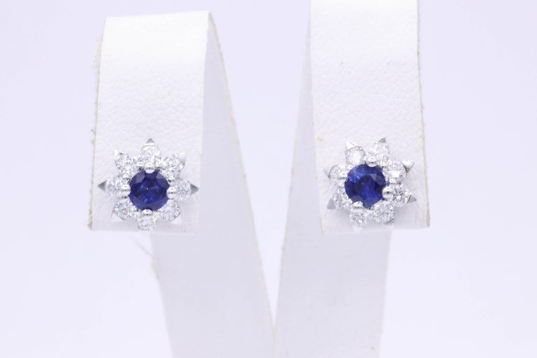 Contemporary Sapphire and Diamond Halo Studs Earrings For Sale