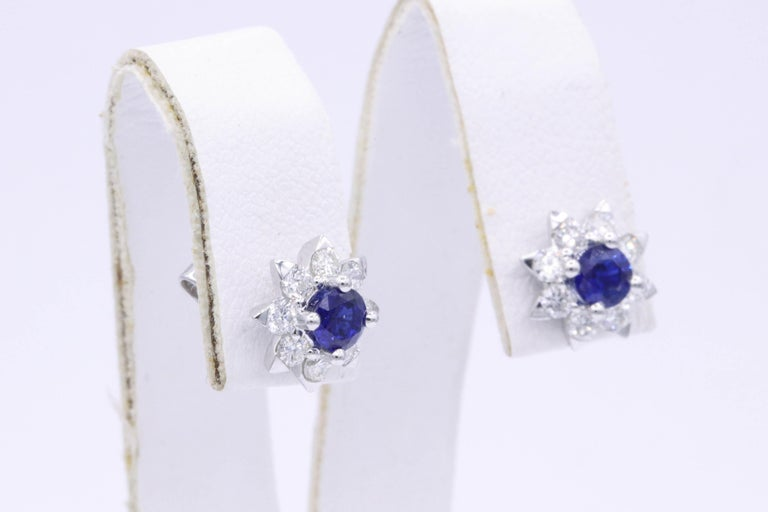 Round Cut Sapphire and Diamond Halo Studs Earrings For Sale