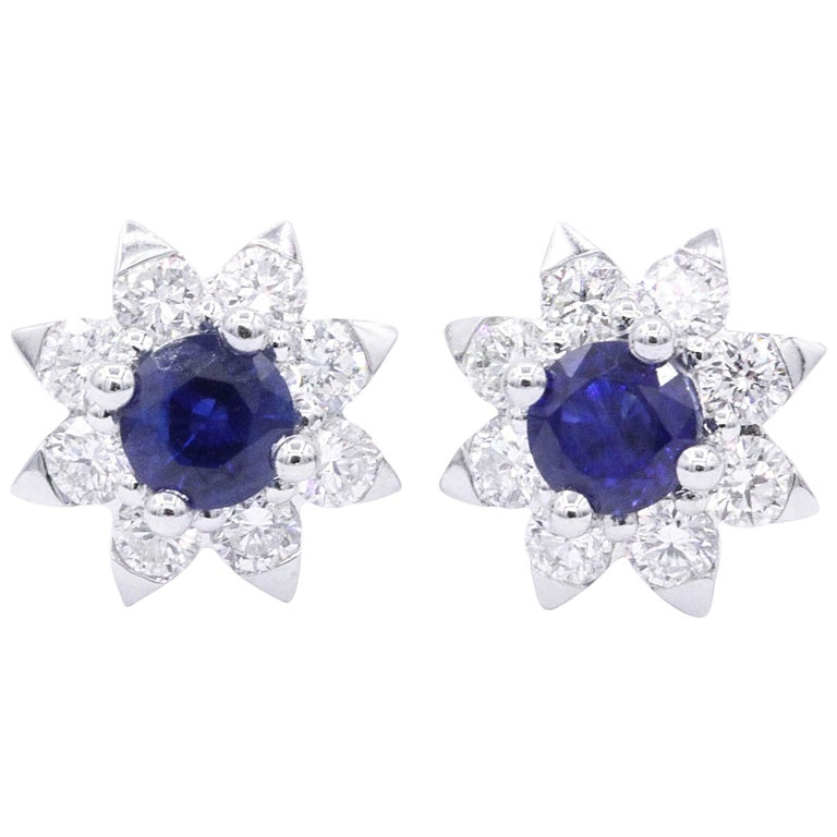 Sapphire and Diamond Halo Studs Earrings For Sale