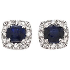 Sapphire and Diamond Halo Style Earrings