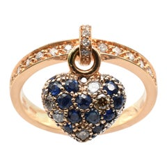 Sapphire and Diamond Heart Charm Ring Rose Gold, Made in Italy