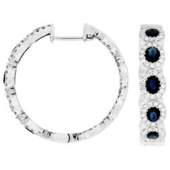 Sapphire and Diamond Hoop Earring, 2.10ct of Sapphire, 1.25 Diamonds 14kt Gold