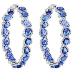 Sapphire and Diamond Hoops