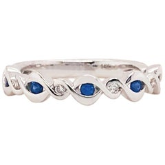 Sapphire and Diamond Infinity Band, 14 Karat Gold Blue Sapphire and Diamond Ring