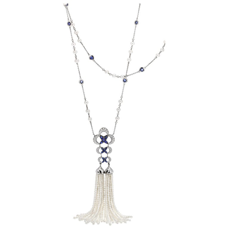 add16b3b97f258 Sapphire and Diamond Lariat Tassel Necklace with Freshwater Pearls For Sale
