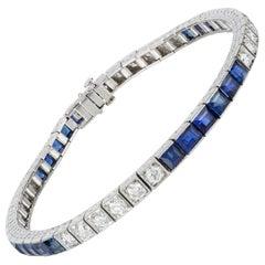 Sapphire and Diamond Line Bracelet by Yard