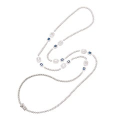 Sapphire and Diamond Long Necklace