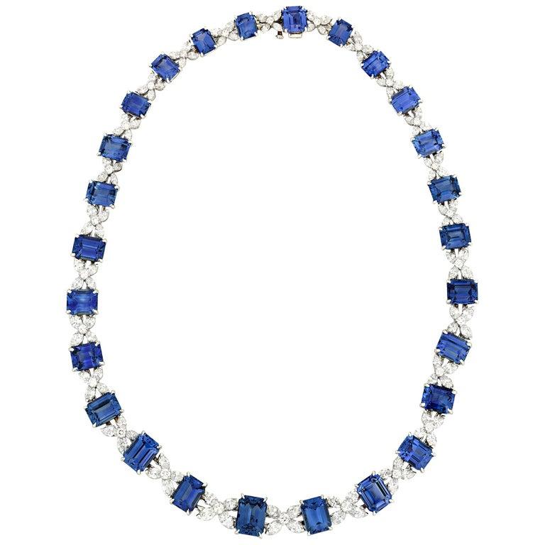 Sapphire and Diamond Necklace by Oscar Heyman For Sale