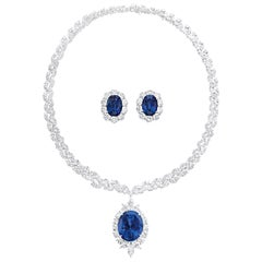 Sapphire and Diamond Necklace and Earrings