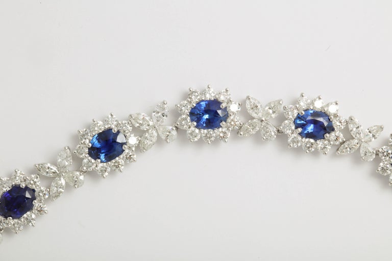 Blue Sapphire and Diamond Necklace In New Condition For Sale In New York, NY