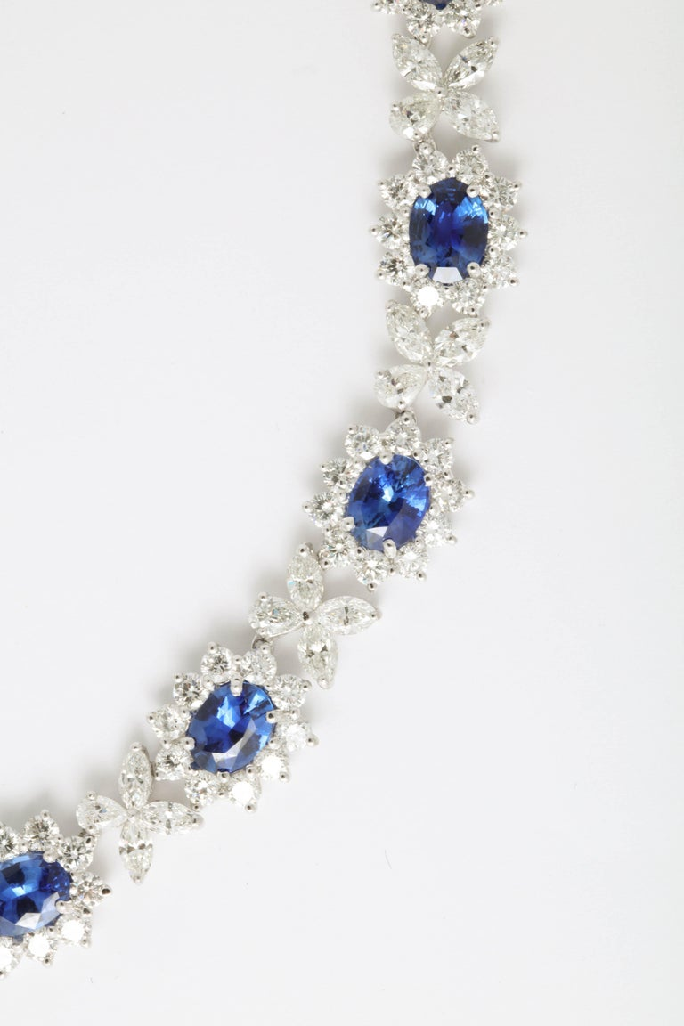 Women's or Men's Blue Sapphire and Diamond Necklace For Sale