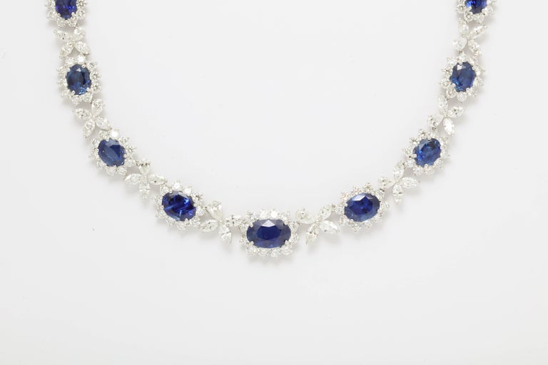 Blue Sapphire and Diamond Necklace For Sale 1
