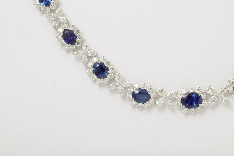 Blue Sapphire and Diamond Necklace For Sale 2