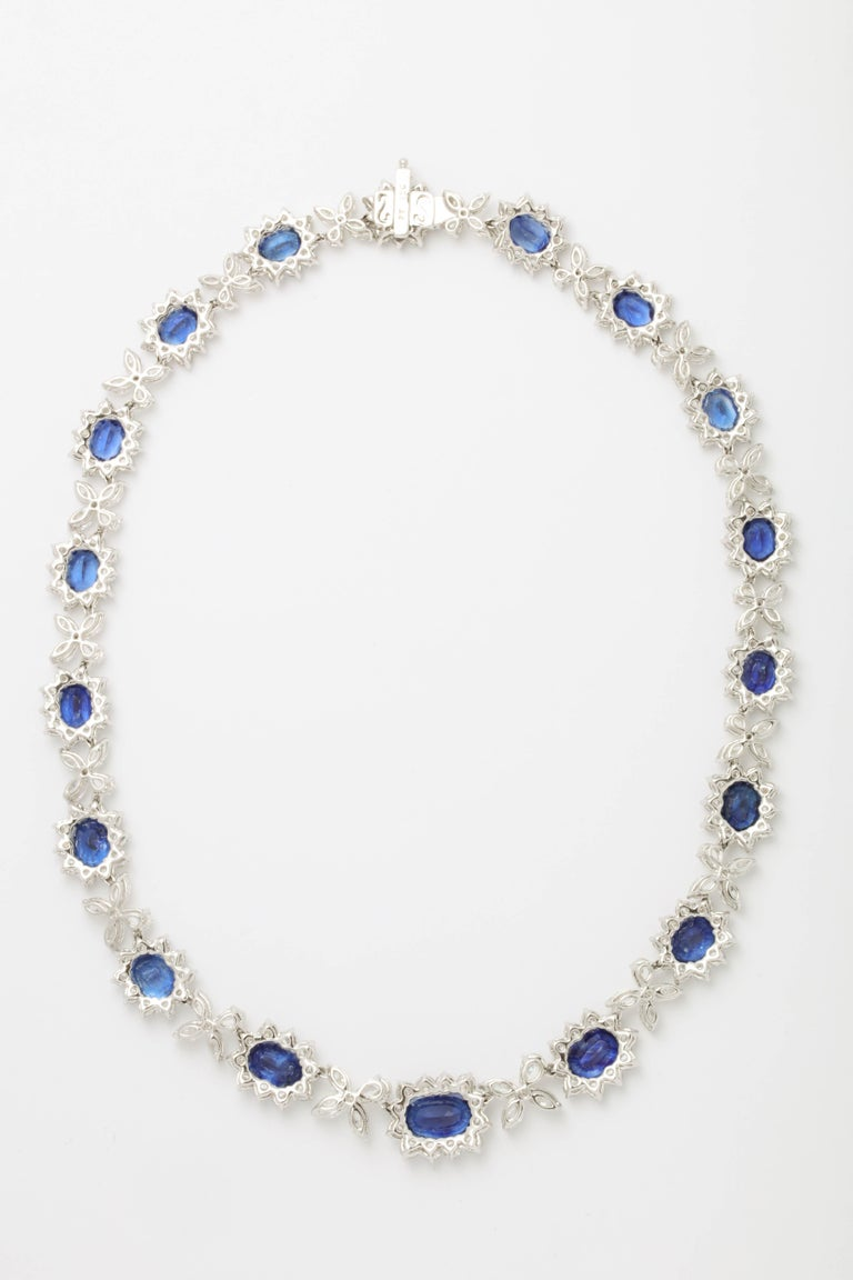 Blue Sapphire and Diamond Necklace For Sale 3