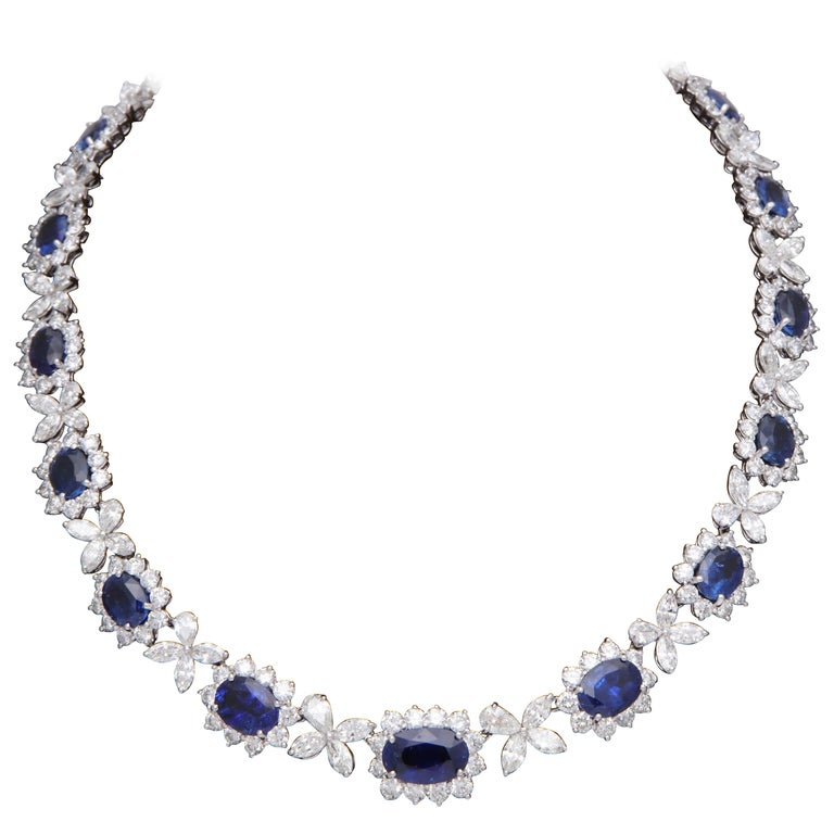 Blue Sapphire and Diamond Necklace For Sale