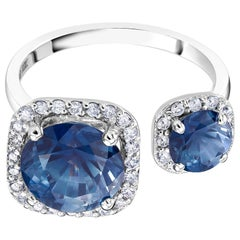 Sapphire and Diamond Open Shank Cocktail Ring Weighing 5.70 Carat